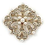 Viktorianischer Stil Glas Pearl, klar quadratisch Kristall Filigran Brosche in Antik Gold Tone–63mm L