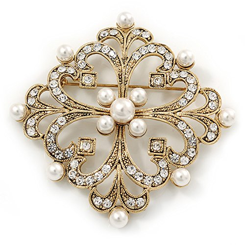 Victorian Style Glass Pearl, Clear Crystal Filigree Square Brooch In Antique Gold Tone - 63mm L