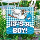Gartenschild * IT'S A BOY * zur Baby Shower Party | Jungen Geburt | 53cm groß | Alle lieben diese blaue Storch Deko
