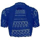 Baleza maniche corte da donna lavorato a maglia uncinetto coprispalle BOLERO Cardigan da donna Crop Top 8–26SZ Royal Blue XX-Large