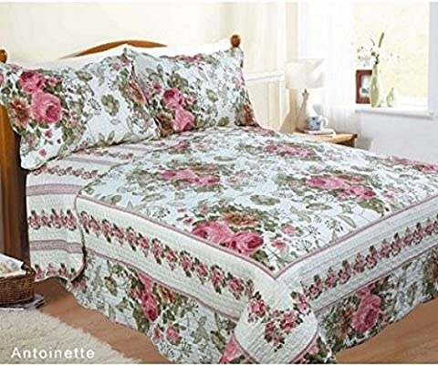 Double Bed Antoinette Bedspread Set, Throw Over & Pillow Shams, Quilted Multi Scalloped Edge, Flowers Leaves, Dusky Pink Green Forest Off White
