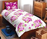 Spaces Allure 144 TC Cotton Single Bedsheet with Pillow Cover - Pink