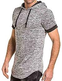 BLZ jeans - Tee-shirt homme gris chiné oversize arrondie à capuche