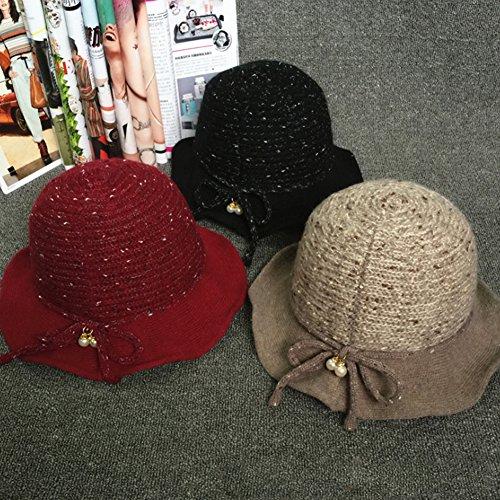 Sitong femme perle de laine en peluche chapeau tricot r¨¦tro plafond bassin pliable bleu marin