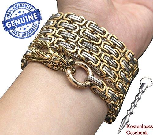 penixon volle Stahl Selbstverteidigung Hand Armband Kette (Golden)
