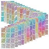 Lot de 288 pochoirs en vinyle pour nail art, décorations, set d'autocollants pour ongles, faux ongles, 24 feuilles