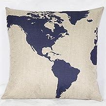 Fundas de Cojines Algodón de Lino Decorativos Sofá Mapa Azul Funda de Almohada (18*18 inch)