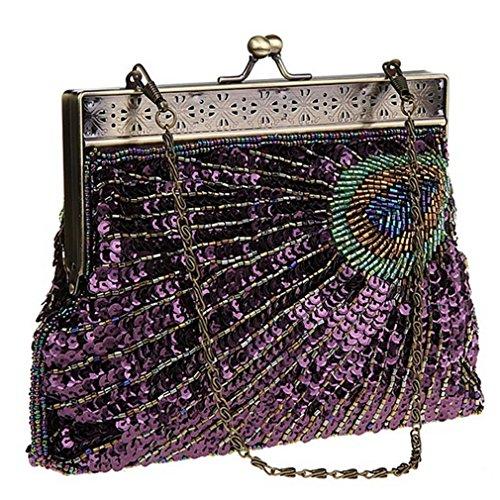 Belsen, Borsa a spalla donna multicolore Eye cat Taglia unica Purple