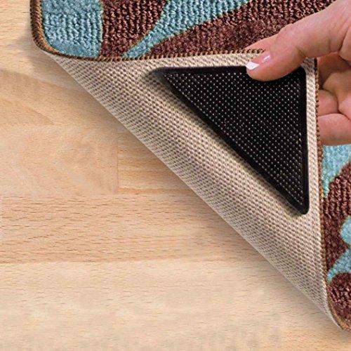 Teppich Greifer erthome Anti Rutsch Matte stop teppich unterlage, 4 X Teppich Pad Rutschfeste Tri Aufkleber Antirutschmatte Pads Anti Slip (Schwarz)