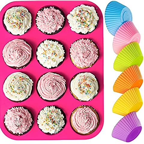 kiboom 12tazze, antiaderente, Premium in silicone stampo per muffin e cupcake Pan/stampi da forno in silicone/cottura tazze