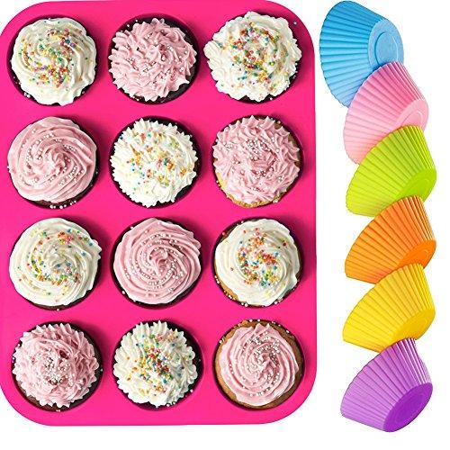 KIBOOM 12Cup, antihaftbeschichtet, Premium-Silikon Muffin Form & Cupcake Pfanne/Silikon Backform Formen/Backförmchen