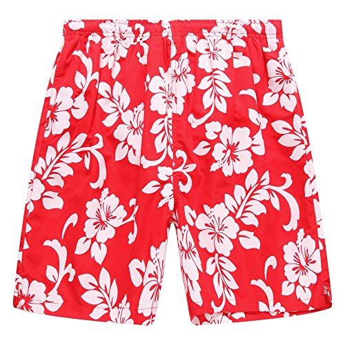 Hawaii-Hangover-Tronco-de-bao-masculino-en-todo-el-estampado-floral-en-rojo-M
