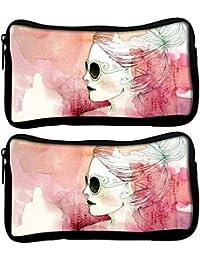 Snoogg Pack De 2Tela mujer con gafas de sol funda estudiante pluma lápiz caso bolsa de cosméticos bolsa de monedero