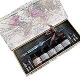 Tige en bois sculpté Housse de plume de stylo avec plume en acier 7pièces d'encre Ensemble Ensemble porte-plume Ll-48en Écrivant Quill