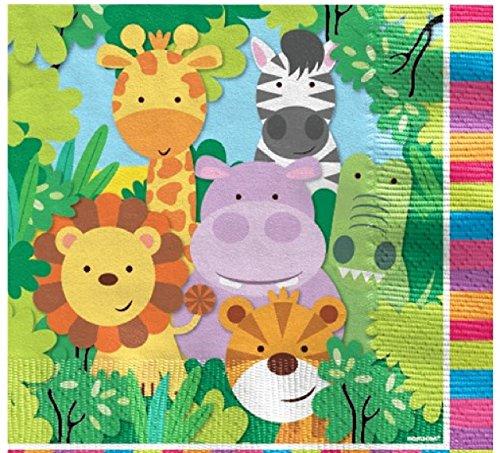 Fancy Me Jungen Mädchen Babys Kleinkinder Tierfreunde Jungle Zoo Themen Geburtstag Party Feiern Dekorationen Geschirr Löwe Giraffe Hippo Crocodile Tiger (Servietten) (Kleinkind-jungen Party-themen Für)