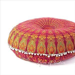 "Eyes of India 32"" Burgundy Mandala Large Floor Pillow Meditation Cushion Seating Throw Cover Hippie Decorative Bohemian Boho Indian Pouf Ottoman"