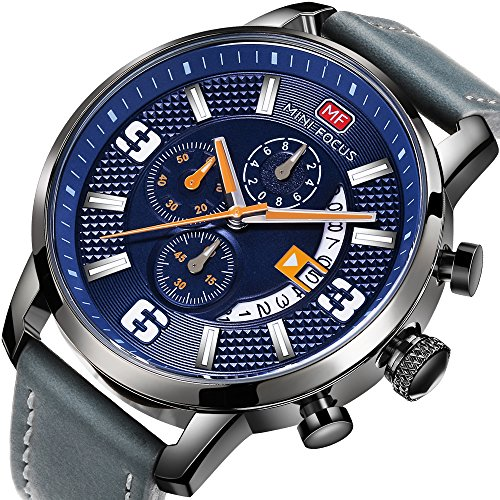 MINI FOCUS Men's Watch Chronograph Analogue Quartz Sport Multifunction Waterproof Wrist Watches with Leather Strap