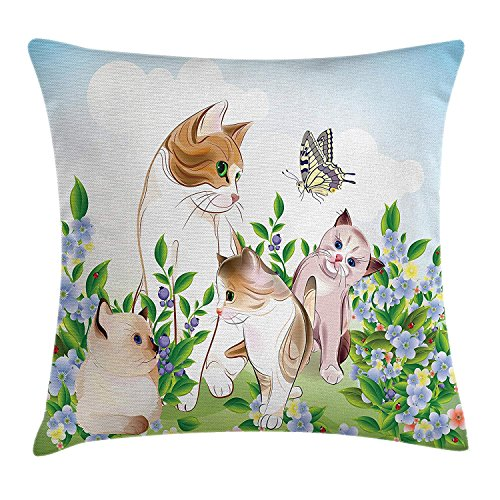 Icndpshorts Cat Throw Pillow Cushion Cover, Cute Kittens in Flower Meadow Field Happy Cats Family with Butterfly Kids Cartoon Print, Decorative Square Accent Pillow Case, 26 X 26 inches, Multi Butterfly Meadow Bunny