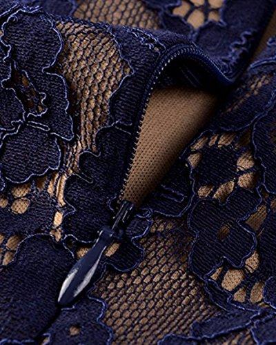 BIUBIU Damen Vintage Spitzenkleid Blumenkleid Partykleider Cocktailkleider Marine