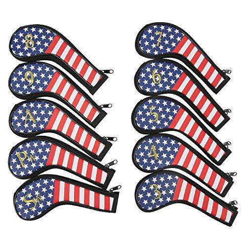 HDE Golfschlägerhüllen-Set USA-Flagge, mit bestickter Clubnummer, Dickes Kunstleder, Golfschlägerschutz (10 Stück, 3 Eisen - Sandkeil) (Clubs Head Cobra Golf Covers)