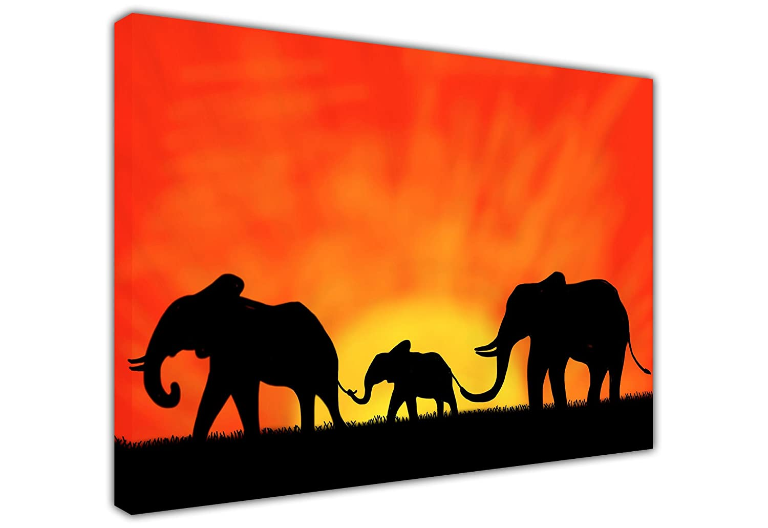 african elephant family under sunset silhouette large canvas prints wall art nature photo room dcor print home decoration picture amazoncouk kitchen