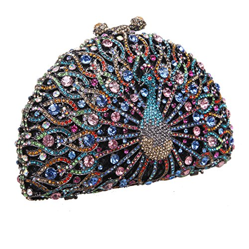 Bonjanvye Glitter Crystal Peacock Clutch for Girls Peacock Clutch Evening Bag Smoky Yellow black