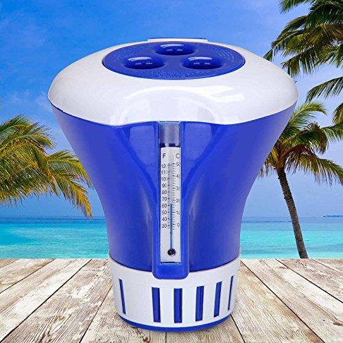 Deuba® Dosierschwimmer Chlordosierer Schwimmer mit integriertem Thermometer | Geeignet für alle gängigen Pools | Einfache Dosierung per Einstelllring