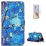 KaseHom Case for Samasung Galaxy S6 PU-Leder Etui magnetische Flip Hülle [Frei Schirm Schutz] (Ölgemälde Blume) Gemälde Entwurf Halfter [Ständer] Stoßfest Abdeckung