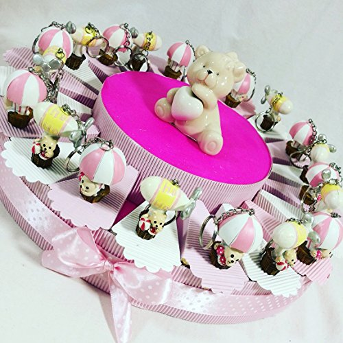 Sindy bomboniere bomboniere nascita battesimo femmina o maschio a seconda della scelta (torta orsetti mongolfiera e dirigibile portachiavi)