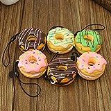 1Stk. Squishy weiches Donut Schlüsselanhänger kawaii Handyanhänger Spielzeug-Stil zufällig
