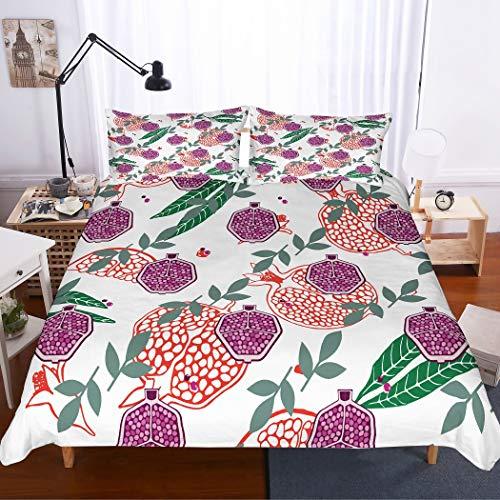 MOUMOUHOME 3 Stück Obst Serie 3D Druck Bettwäsche-Set mit 1 Bettbezug 2 Kissenbezug,Lila/Rotem Granatapfel und Grünen Blättern auf Weiß Mikrofaser,Keine Bettdecke - Tröster Grün Lila Und