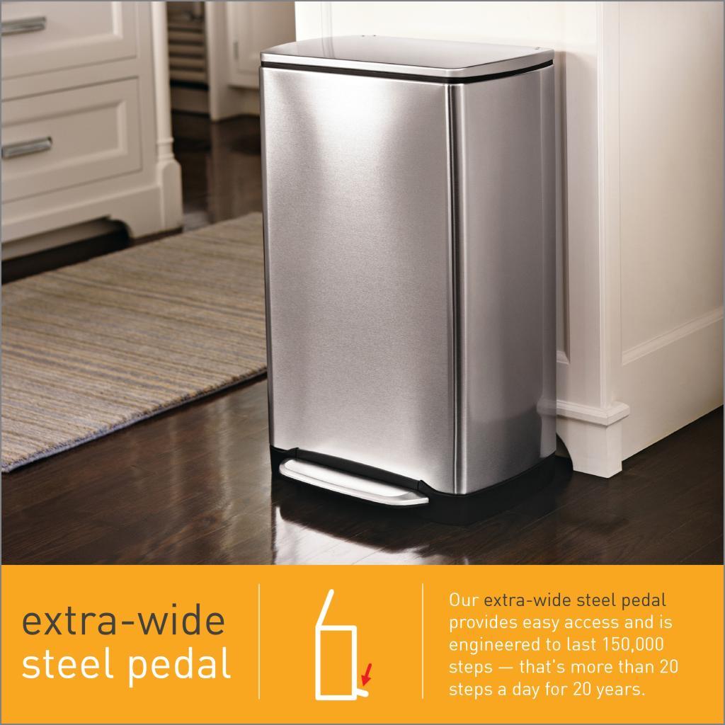 simplehuman wide pedal rectangular bin 38 l fingerprint. Black Bedroom Furniture Sets. Home Design Ideas