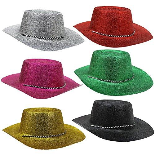 COWBOY ODER COWGIRL = HUT IN GLITZERNDEN FARBEN MIT BEFESTIGUNGS BAND= VON ILOVEFANCYDRESS® = GLITTER COWBOY HUT ERHALTBAR IN 6 VERSCHIEDENEN FARBEN = DER HUT PASST ZU JEDEM KOSTÜM UND - Dallas Cowboys Kostüm Halloween