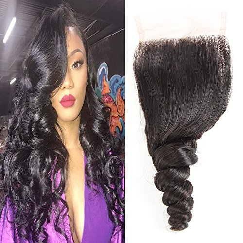 Huarisi Free Part Brazilian Hair Closure Loose Wave 7a with Baby Hair...