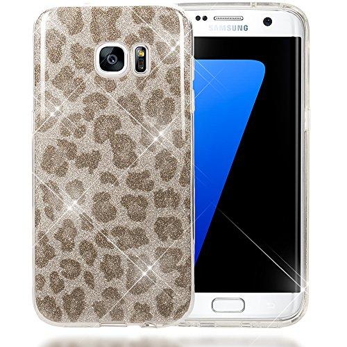 NALIA Purpurina Funda para Samsung Galaxy S7 Edge, Carcasa Protectora Movil TPU Silicona Fina Glitter Leopardo Gel Bumper, Lentejuela Cubierta Delgado Cover Case para Samsung S7 Edge - Plata Gris