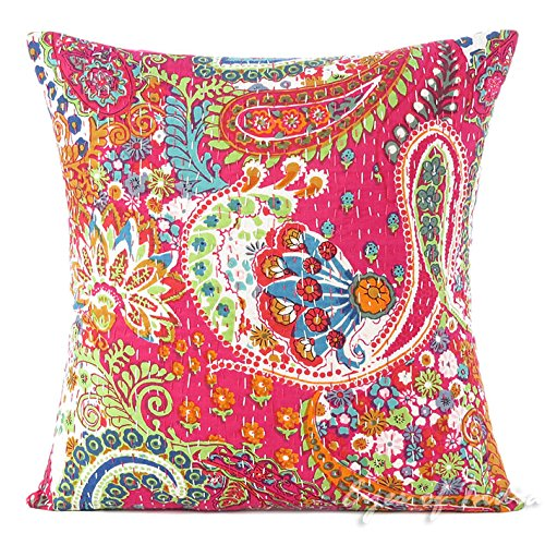 "EYES OF INDIA 16"" Pink Kantha Decorative Sofa Throw Couch Pillow"