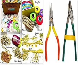 GOELX Silk Thread Jewelery Making Box with All Accessories and Cutter-Plier Tools (Pink, Golden, Maroon and Silver, Box-Cutter-Plier-Tools-PGMS-2.8)