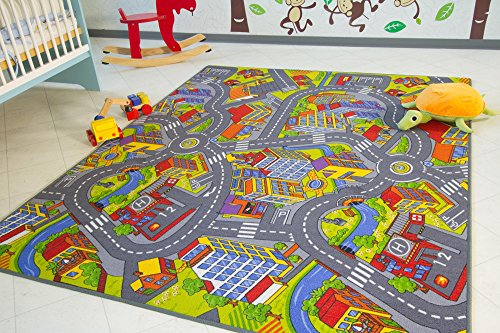 #Kinder Teppich City – Straßen und Spiel Teppich, 100×160 cm#