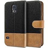 BEZ® Hülle für Samsung Galaxy S5 Handyhülle, Handytasche Schutzhülle Kompatibel für Samsung Galaxy S5 / S5 Neo Hülle, Tasche [Stoff und PU Leder] mit Kreditkartenhaltern - Schwarz