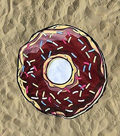 Ducomi Ibiza–Rund Strandtuch Frauen Herren Kinder–Schutzschale Ideal Strand, Picknick, Home, Pool Kostüm Bezug–Tischdecke Colorful Funny Mustern–Ø 150cm Donuts 2
