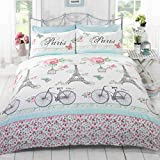 C'est La Vie Paris Duvet Cover Quilt Bedding Set, Duck Egg, Double (Flowers, Butterflies, Pink, Eiffel Tower, Bicycles)