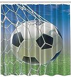 Abakuhaus Duschvorhang, Fußball Tor Netz Fußball Spiele Foto Design Feld Gras Ball für Jugendliche und Kinder Druck, Blickdicht aus Stoff mit 12 Ringen Waschbar Langhaltig Hochwertig, 175 X 200 cm