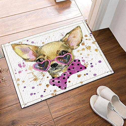 JoneAJ Cooler Hund mit niedlichen herzförmigen Sonnenbrillen Badteppichen Rutschfeste Fußmattenbodeneingänge Außeninnen-Haustürmatte für Kinder Badmatte für Kinder 15,7x23,6 Zoll Badzubehör