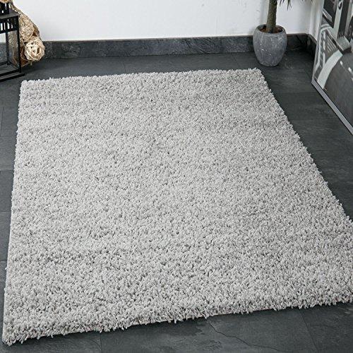 VIMODA prime1000 Shaggy Hoch-/Langflor Teppich, Modern für Wohn-/Schlafzimmer, Polypropylen, Quadrat, grau, 150 x 150 cm