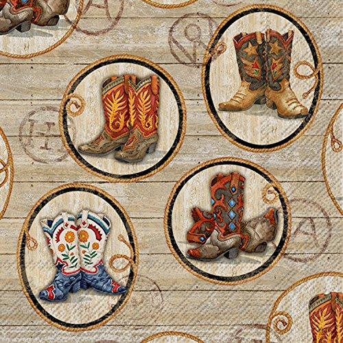 Ideal Home Range 20Zählen Wild West Stiefel Papier Servietten