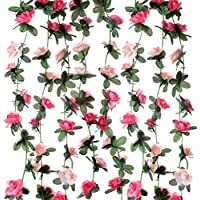 Sleipmon 8 Pack 65 FT Rose Garland Fake Rose Vine Flowers Plants Artificial Flower Hanging Rose Ivy Home Hotel Office Wedding Party Garden Craft Art Decor Pink