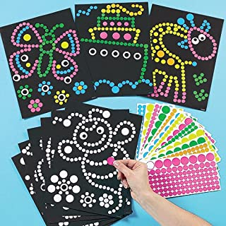 Baker Ross Dotty Sticker Art (Pack of 8) For Kids To Decorate, Arts and Crafts