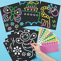 Baker Ross Illustrations et gommettes rondes autocollantes (Lot de 8) - Loisirs créatifs pour enfants