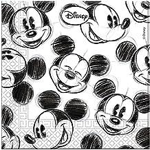 Serviettes Mickey Noires et Blanches x25 - Taille Unique