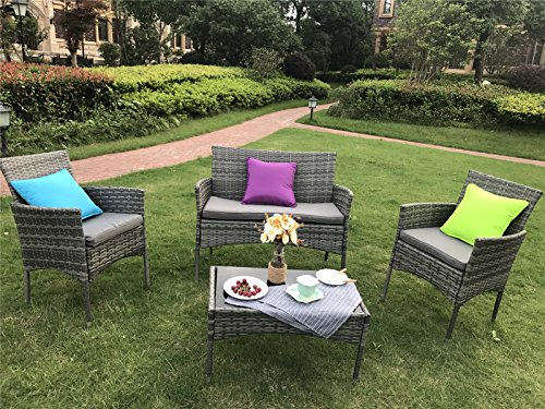 YAKOE Eton gama al aire libre ratán muebles de jardín juego de sofá ...